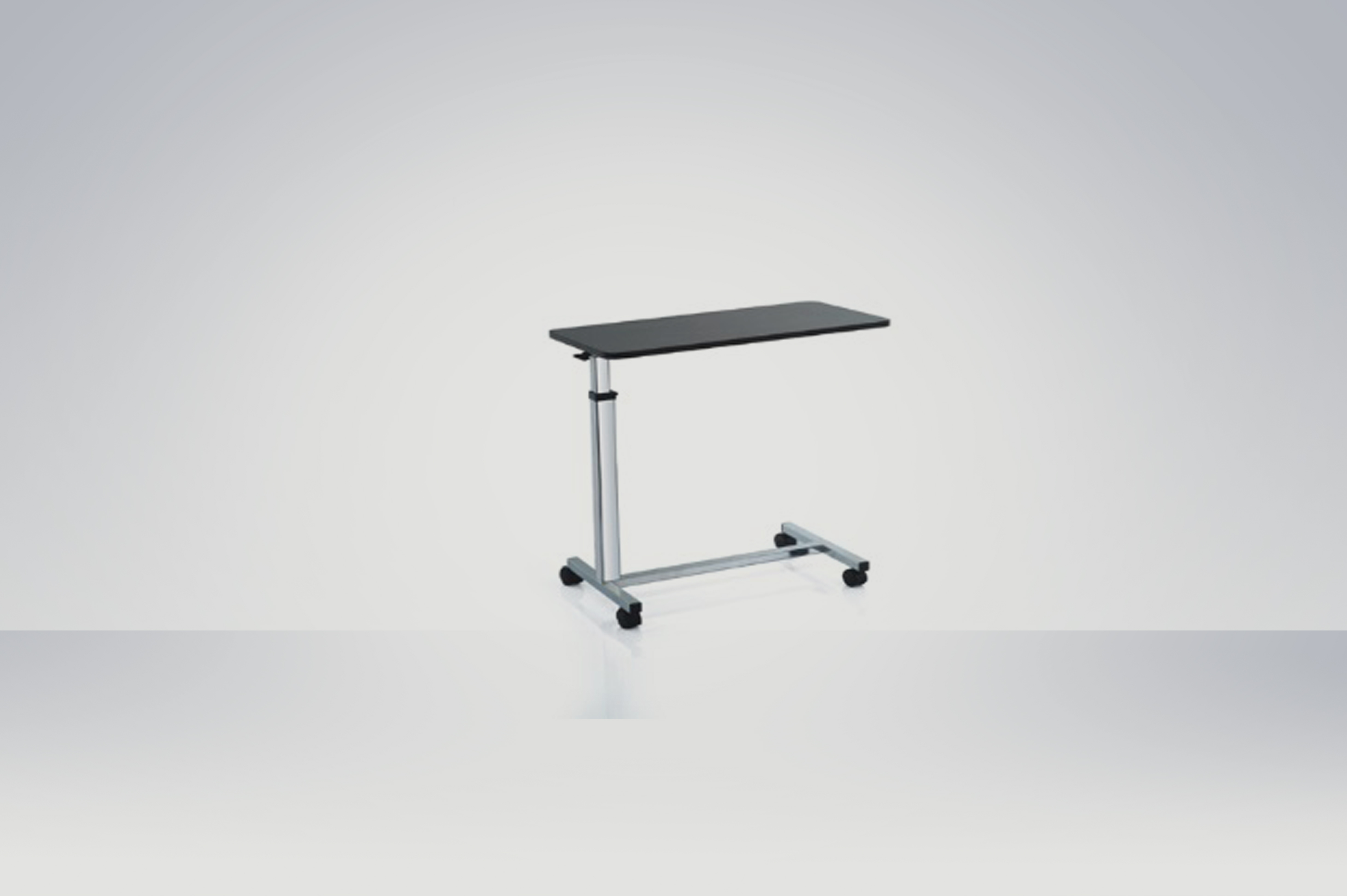 Adjustable food tray with four lockable castor